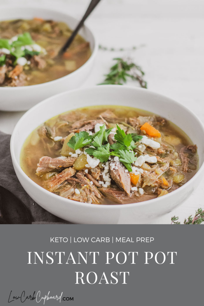 Easy to make keto Instant Pot Pot Roast recipe. This low carb instant pot recipe is perfect for meal prepping or a keto dinner recipe. #instantpotpotroast #ketopotroast